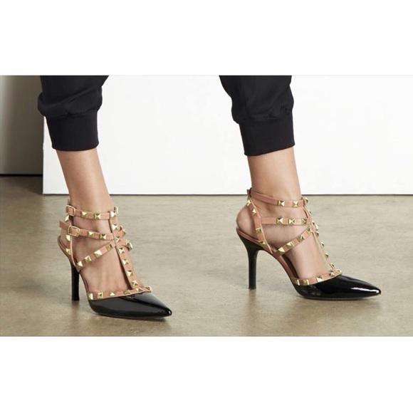 f3266f5f7a26 BCBG Shoes - BCBG Paris Black   Nude Rockstar Heel Studded ...